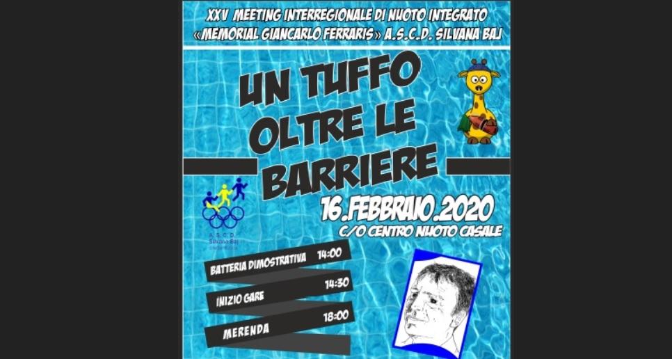 """Sport diversamente abili: XXV meeting interregionale di nuoto """"un tuffo oltre le barriere"""" memorial Giancarlo Ferraris"""